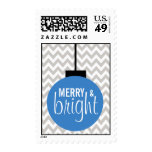 GREY BLUE Merry & Bright Chevron Holiday Postage