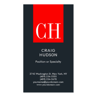 Grey Blue Red Monogram Professional Business Card