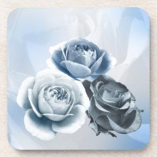 Grey Blue Roses Coaster