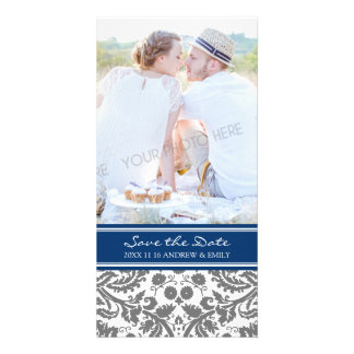 Grey Blue Save the Date Wedding Photo Cards