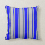 [ Thumbnail: Grey, Blue & Slate Gray Lines Throw Pillow ]