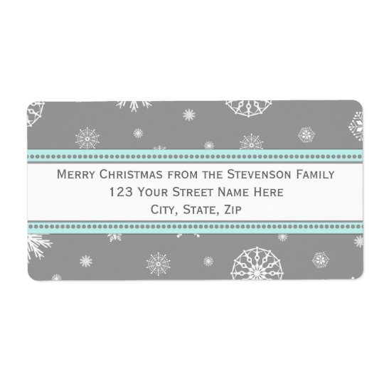 grey blue snowflakes christmas address labels zazzle com