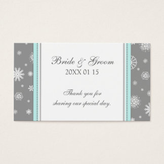 Grey Blue Snowflakes Winter Wedding Favor Tags