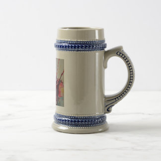 grey-blue  stein mug with abstract art