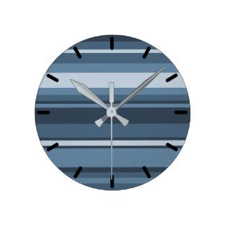 Grey-blue stripes round clock