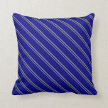 [ Thumbnail: Grey & Blue Stripes Throw Pillow ]