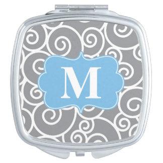 Grey Blue Swirls Monogram Compact Mirror