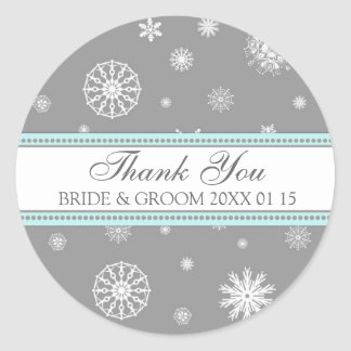 Grey Blue Thank You Winter Wedding Favor Tags Round Stickers