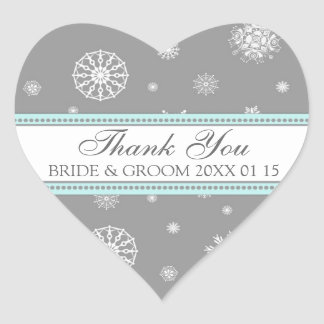 Grey Blue Thank You Winter Wedding Favor Tags Heart Stickers