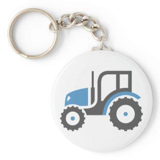 Grey Blue Tractor Keychain
