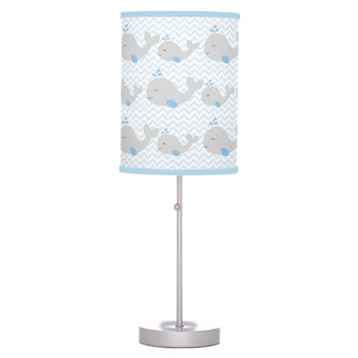 Grey & Blue Whale Chevron Nursery Lamp