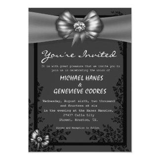 Grey Bow With Diamond Floral Wedding Invitation