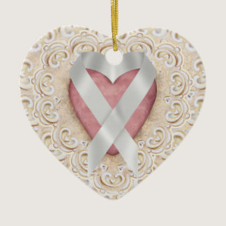 Grey Brain Cancer Ribbon From the Heart - SR Ceramic Ornament