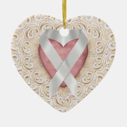 Grey Brain Cancer Ribbon From the Heart - SR Ceramic Ornament