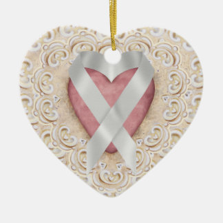 Grey Brain Cancer Ribbon From the Heart - SR Double-Sided Heart Ceramic Christmas Ornament
