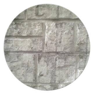 Grey Brickwall Dinner Plate
