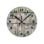 Grey Brickwall Round Wall Clock