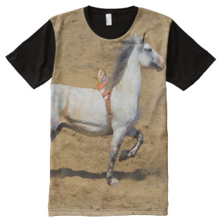 Grey Bronco and Rodeo Arena Art Shirt All-Over Print T-shirt