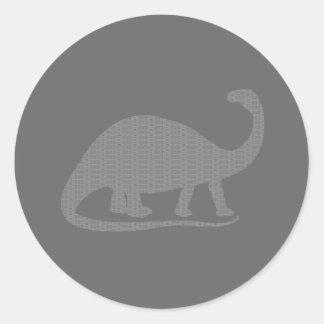 Grey Brontosaurus Classic Round Sticker