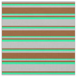 [ Thumbnail: Grey, Brown, and Green Colored Striped Pattern Fabric ]