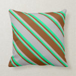 [ Thumbnail: Grey, Brown, and Green Colored Striped Pattern Throw Pillow ]