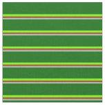 [ Thumbnail: Grey, Brown, Chartreuse & Dark Green Colored Fabric ]