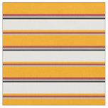 [ Thumbnail: Grey, Brown, Orange, Mint Cream & Black Stripes Fabric ]