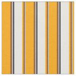 [ Thumbnail: Grey, Brown, Orange, White & Black Lines Fabric ]