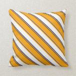 [ Thumbnail: Grey, Brown, Orange, White & Black Lines Pillow ]