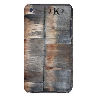 Grey & Brown Wood Planks Monogrammed Phone Case