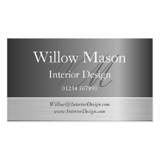 Grey Brushed Steel Monogram Business Card Business Card Template