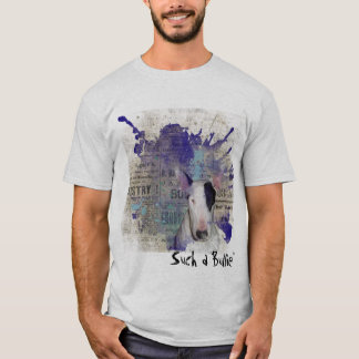 Grey Bull Terrier Blue News Splash Basic t-shirt