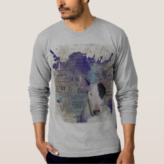Grey Bull Terrier Blue Newsprint Sweatshirt