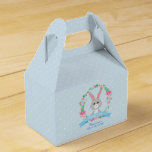 Grey Bunny and Floral Wreath baby shower party Favor Box