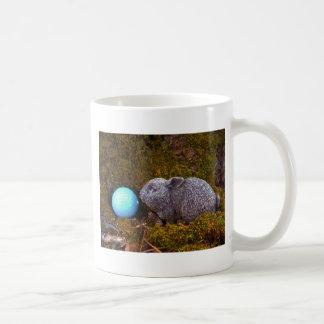 Grey Bunny, Blue Golf Ball Coffee Mug