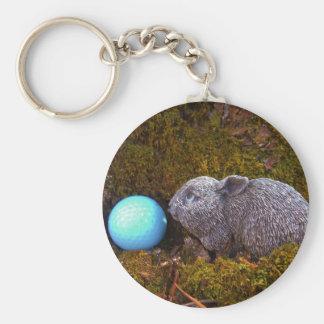 Grey Bunny, Blue Golf Ball Key Chains