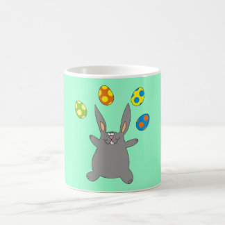 Grey Bunny Juggling Easter Eggs Cute Mugs
