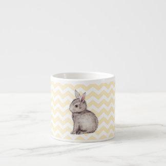 Grey bunny watercolor painting on yellow chevron espresso cup