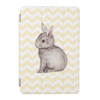 Grey bunny watercolor painting on yellow chevron iPad mini cover