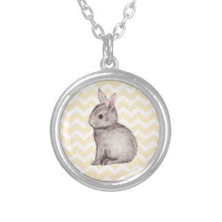 Grey bunny watercolor painting on yellow chevron pendants