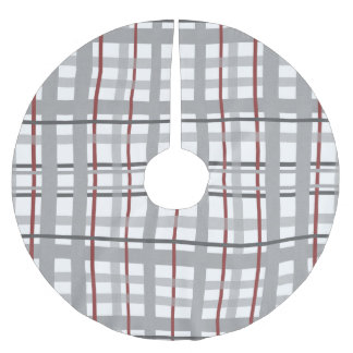 Grey Burgundy Plaid Stripes Pattern Brushed Polyester Tree Skirt