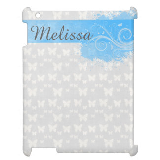 Grey Butterfly swirls blue banner at top for name iPad Covers