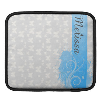 Grey Butterfly swirls blue banner at top for name Sleeves For iPads