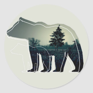 Grey button with two bears and forest classic round sticker