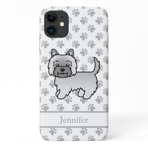 Grey Cairn Terrier Cute Cartoon Dog & Name iPhone 11 Case