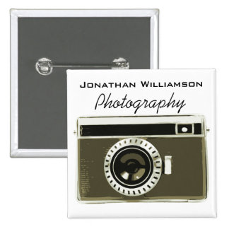 Grey Camera Photography Business 2 Inch Square Button