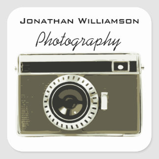 Grey Camera Photography Business Square Sticker