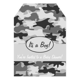 Grey Camo Camouflage Boy Baby Shower Invitation