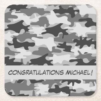 Grey Camo Camouflage Congratulations Name Custom Square Paper Coaster
