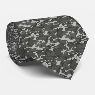 Grey Camo Camouflage Gray Military Pattern Tie